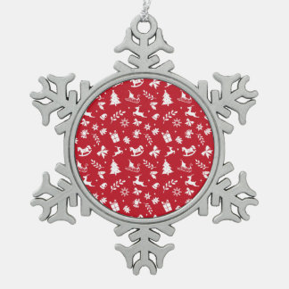 Cute retro style red and white Christmas pattern Ornament