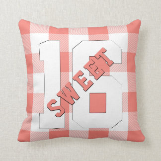 Cute Retro Sweet 16 Coral Plaid Sixteenth Birthday Cushion