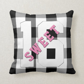 Cute Retro Sweet 16 Pink Black Plaid Birthday Cushion