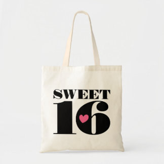 Cute Retro Sweet 16 Sixteenth Birthday Tote Bag