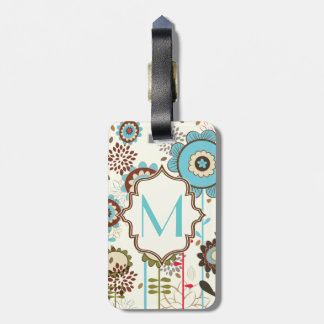 Cute retro turquoise blue floral pattern monogram luggage tag