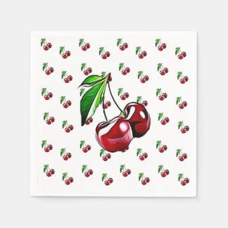 Cute Retro Vintage Cherries Napkin Disposable Serviette