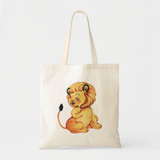 Cute retro vintage lion tote bag
