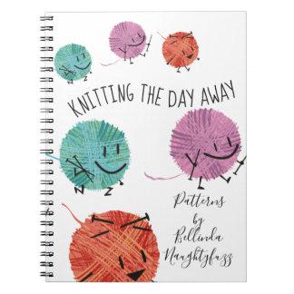 Cute retro yarn knitting needles pattern notebook
