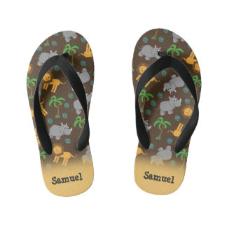 Cute Rhino, Lion, and Palm Trees Personalized Kid's Thongs