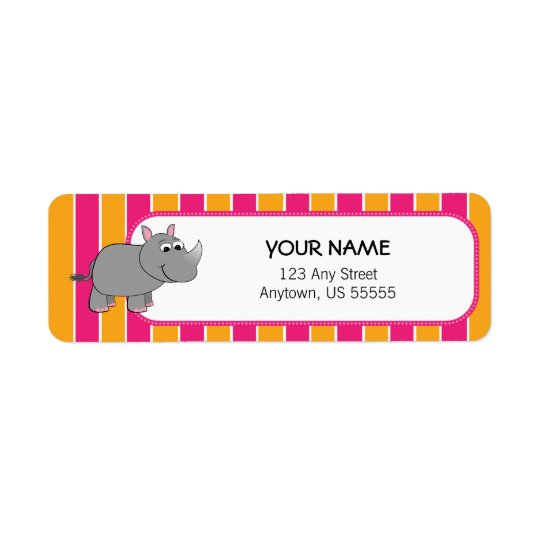 Cute Rhino on Pink and Orange Stripes Return Address Label