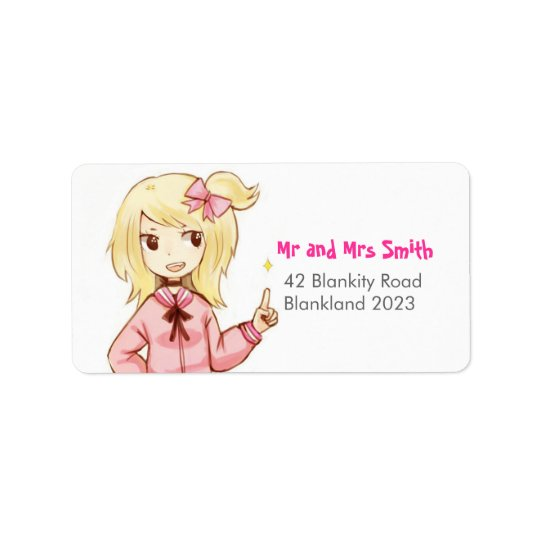 Cute Ribbon Girl Address Label