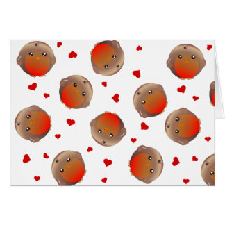Cute Robin and Red Hearts Design Greeting Card