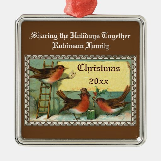 Cute Robin Birds Personalized Christmas Ornaments