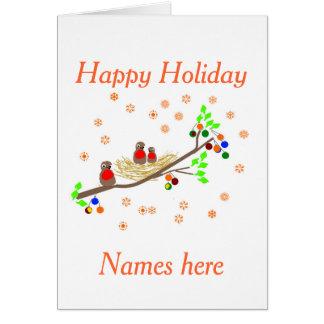 Cute Robin family Christmas Holiday greetings Greeting Card