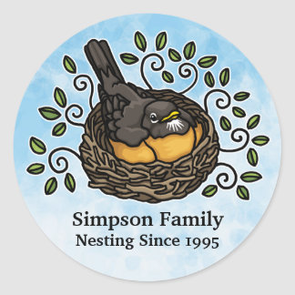 Cute Robin Nesting, Add Your Family Name and Date Classic Round Sticker