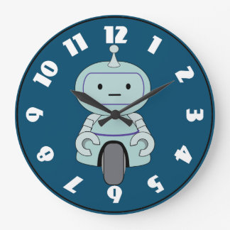 Cute Robot Illustration Large Clock