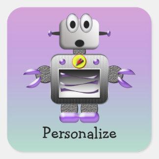 Cute Robot Purple & Blue Personalized Stickers