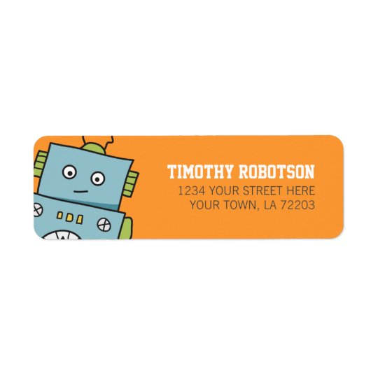 Cute Robot Return Address Labels