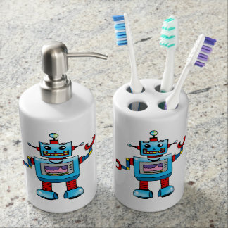 Cute robot toy bathroom set