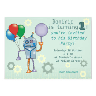 Cute Robot with Balloons First Birthday Invitation