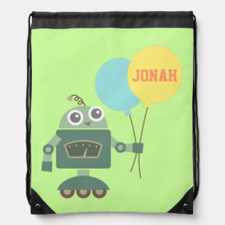 Cute Robot with Balloons for kids Drawstring Bag