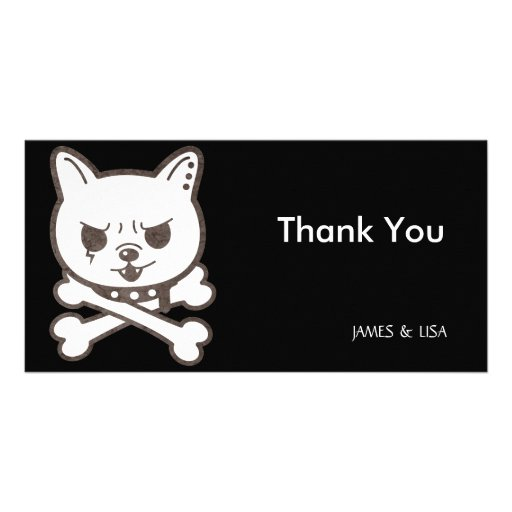 Cute Rocker Puppy Skull Photo Card Template