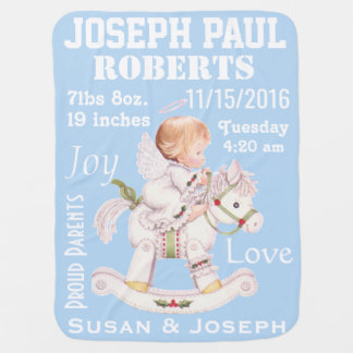 Cute Rocking Horse Personalized Baby Angel Blanket