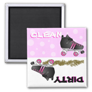 Cute Roller Skate Pink Clean Dirty Dishwasher Square Magnet