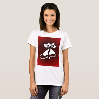 Cute romantic art of cats couples tshirt