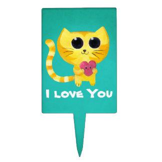 Cute Romantic Cat with Heart Cake Picks