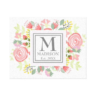 Cute romantic flowers with custom monogram canvas print