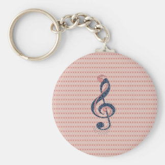 Cute romantic red white hearts blue music note key ring