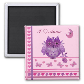 Cute romantic Valentine's day magnet with Owl