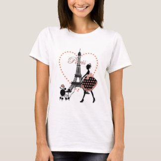 Cute romantic vintage girl silhouette walking T-Shirt