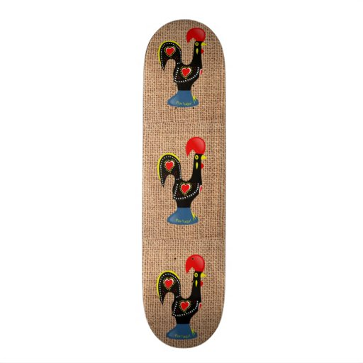 Cute Rooster Barcelos Portugal Burlap background Skate Board Deck