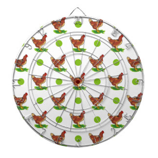 Cute Rooster, Chicken, Green Polka Dots Dartboards