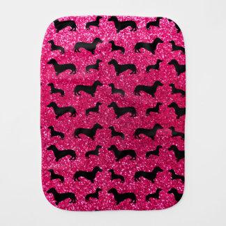 Cute rose pink dachshund glitter pattern burp cloth