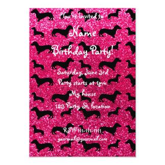 Cute rose pink dachshund glitter pattern card