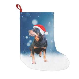 Cute Rottweiler Dog Christmas Santa Hat Snow Stars Small Christmas Stocking