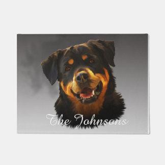 Cute Rottweiler Dog Water Colour Art Portrait Doormat