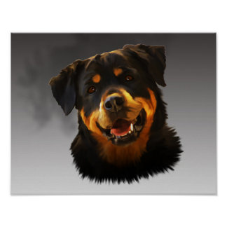 Cute Rottweiler Dog Water Colour Art Portrait Poster