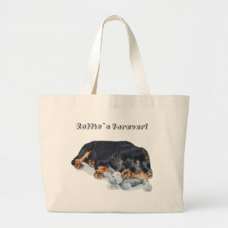 cute rottweiler puppy dog cuddling teddy bear art large tote bag