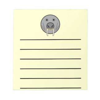 Cute Round Cartoon Walrus Face Notepad