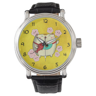 Cute Round Maneki Neko Cat Watch
