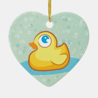 Cute rubber duck with bubbles ornament