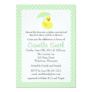 """Cute Rubber Ducky Baby Shower Invitation 5"""" X 7"""" Invitation Card"""