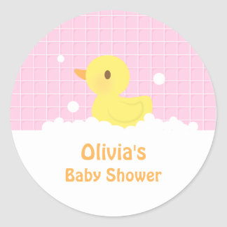 Cute Rubber Ducky Baby Shower Party Decor Round Sticker
