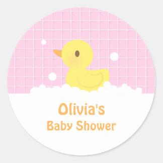 Cute Rubber Ducky Baby Shower Party Decor Round Sticker