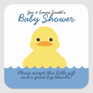 cute rubber ducky BABY SHOWER party favor label Square Sticker
