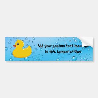 Cute Rubber Ducky/Blue Bubbles Bumper Sticker