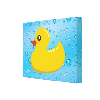 Cute Rubber Ducky Blue Bubbles Stretched Canvas Print