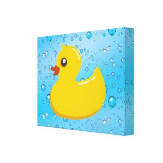 Cute Rubber Ducky/Blue Bubbles Canvas Print