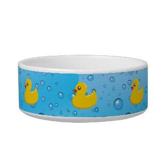 Cute Rubber Ducky/Blue Bubbles Cat Food Bowl