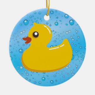 Cute Rubber Ducky/Blue Bubbles Round Ceramic Decoration